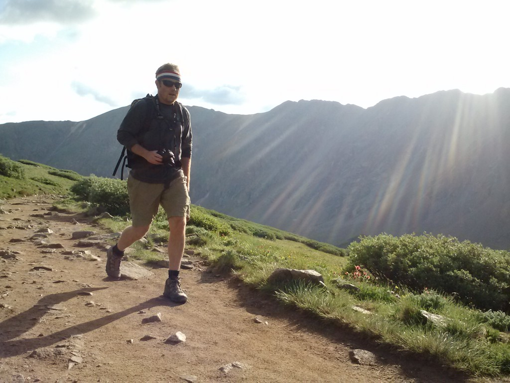 Jeremy Dodge carrying the Mayhem 35 up the trail to Gray's Peak and Torrey's Peak