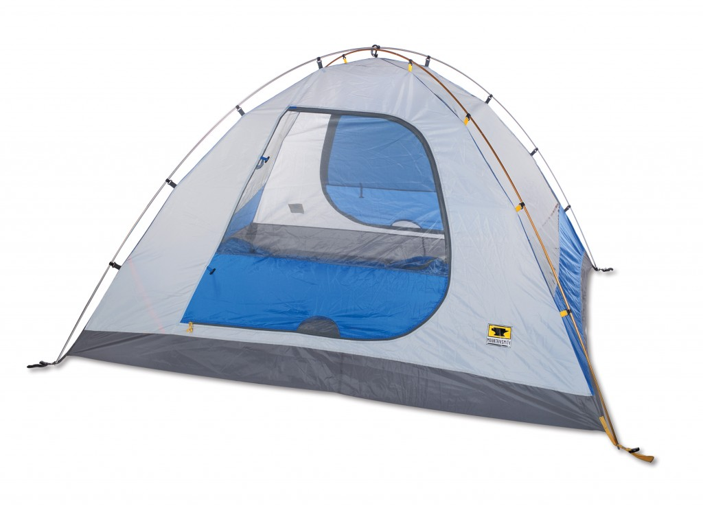 The Mountainsmith Genesee 4 person tent with the fly on