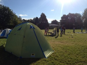 The Mountainsmith Conifer 5+ set up on the soccer field at the Denver Green School