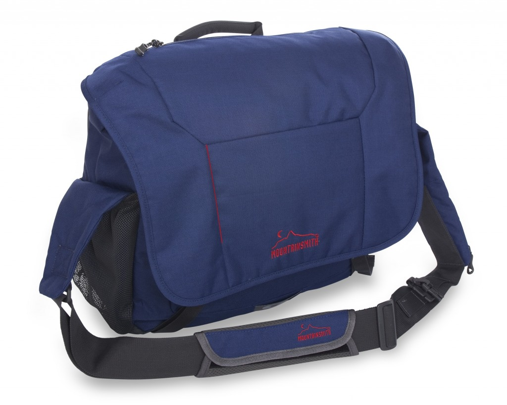 The Mountainsmith Hoist Messenger bag in inky blue from the Front Range Series