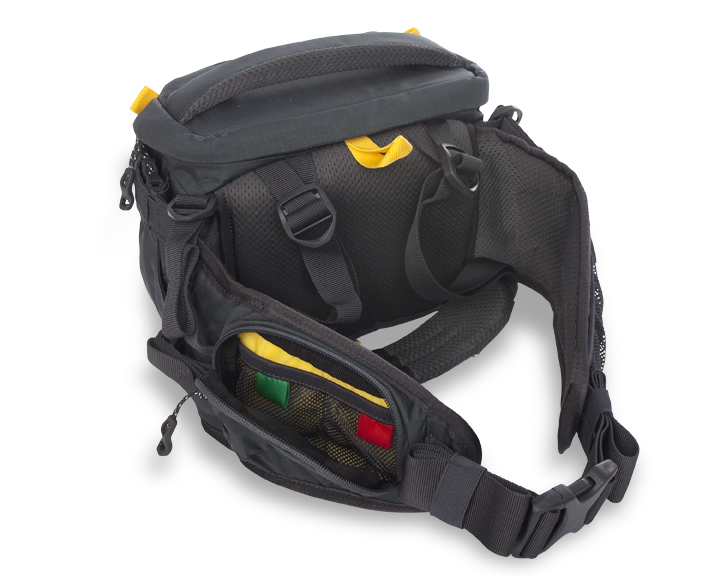 The Andy Mann signature series Mountainsmith Swift FX showing the memory card organization built into the waist belt.