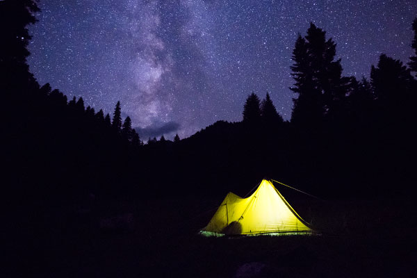 Mountainsmith Mountain Shelter LT Tent at night in the Caucasus Mountains