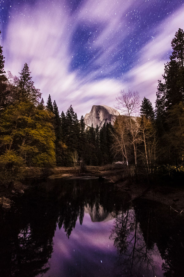 Half Dome under the night sky, Yosemite National Park, California