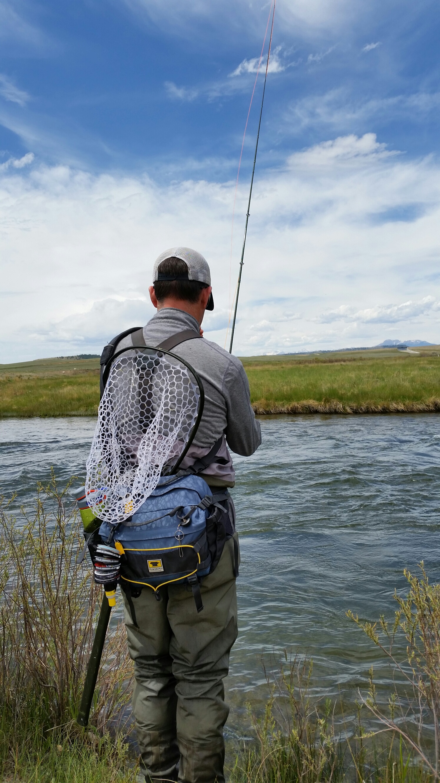 Keith Reis wearing his Mountainsmith Tour TLS Lumbar Pack as he stalks the river banks.
