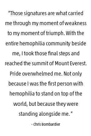 Chris Bombardier Quote on Everest and Hemophilia