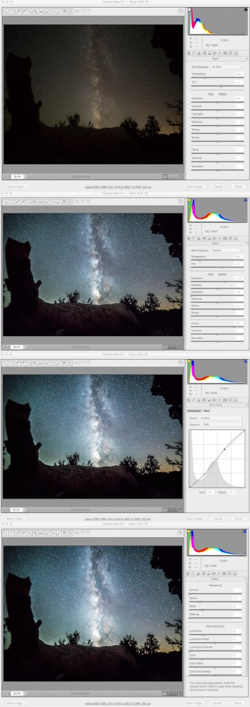 photoshop settings for milky way photos