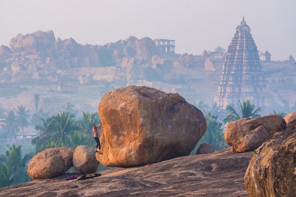Bouldering in front of Hampi, India Landscape