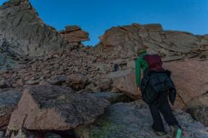 Girl hiking Keyhole Route on Long's Peak (Colorado)