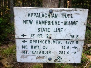 Appalachian trail sign at the new hampshire maine state line