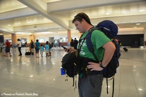 Josh Wilson of Peanuts or Pretzels using his Mountainsmith Lariat backpack and Tour FX at the airport
