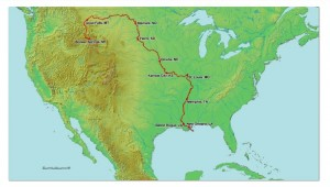 A map of North America shows the path that will be taken by the Blackwater Drifters kayak expedition from Montana to New Orleans
