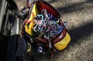 Mountainsmith Mayhem 35 backpack with a climbing rack