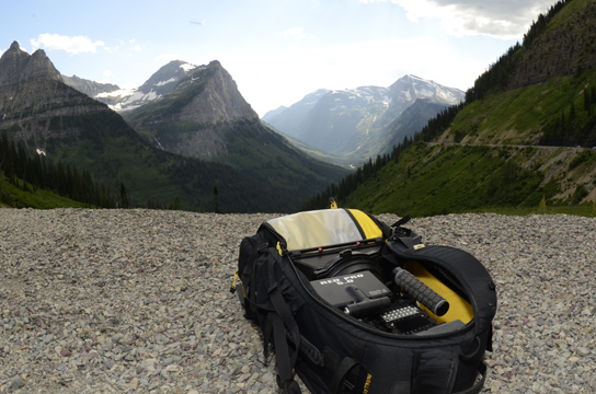 The Mountainsmith Parallax backpack seen holding the RED epic camera in Glacier National Park