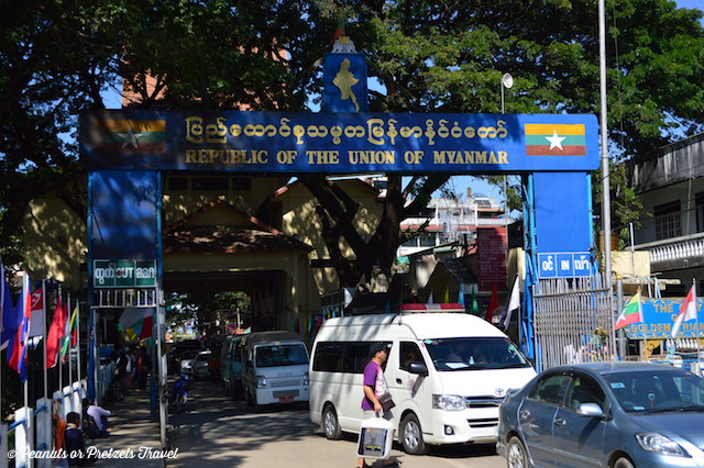 Crossing the border from Thailand into Myanmar