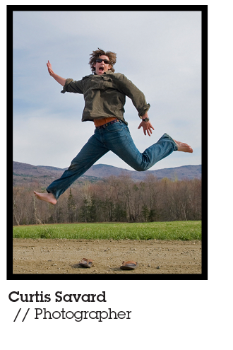Curtis Savard, photographer and Mountainsmith Brand Ambassador pictured jumping into the air in front of a New England forest