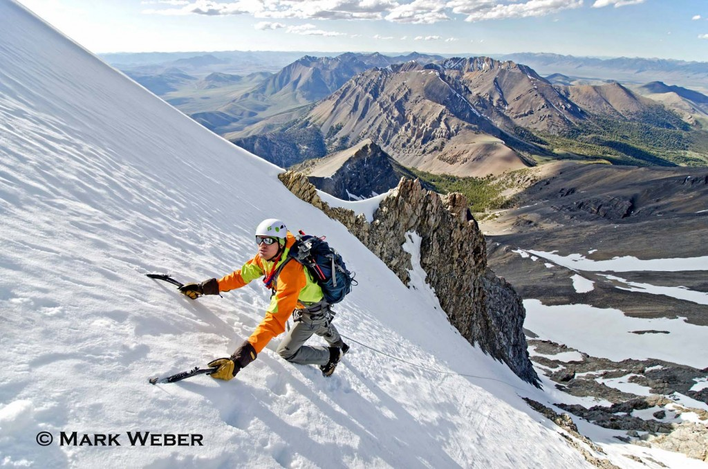 Elijah Weber alpine climbing The North Face on Borah Peak a route which is rated Grade 3, AI-3 and located on Mount Borah in the Lost River Mountains in central Idaho
