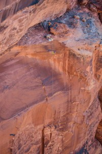 a fixed line hangs in the fruit bowl for the jumpers to ascend in moab utah