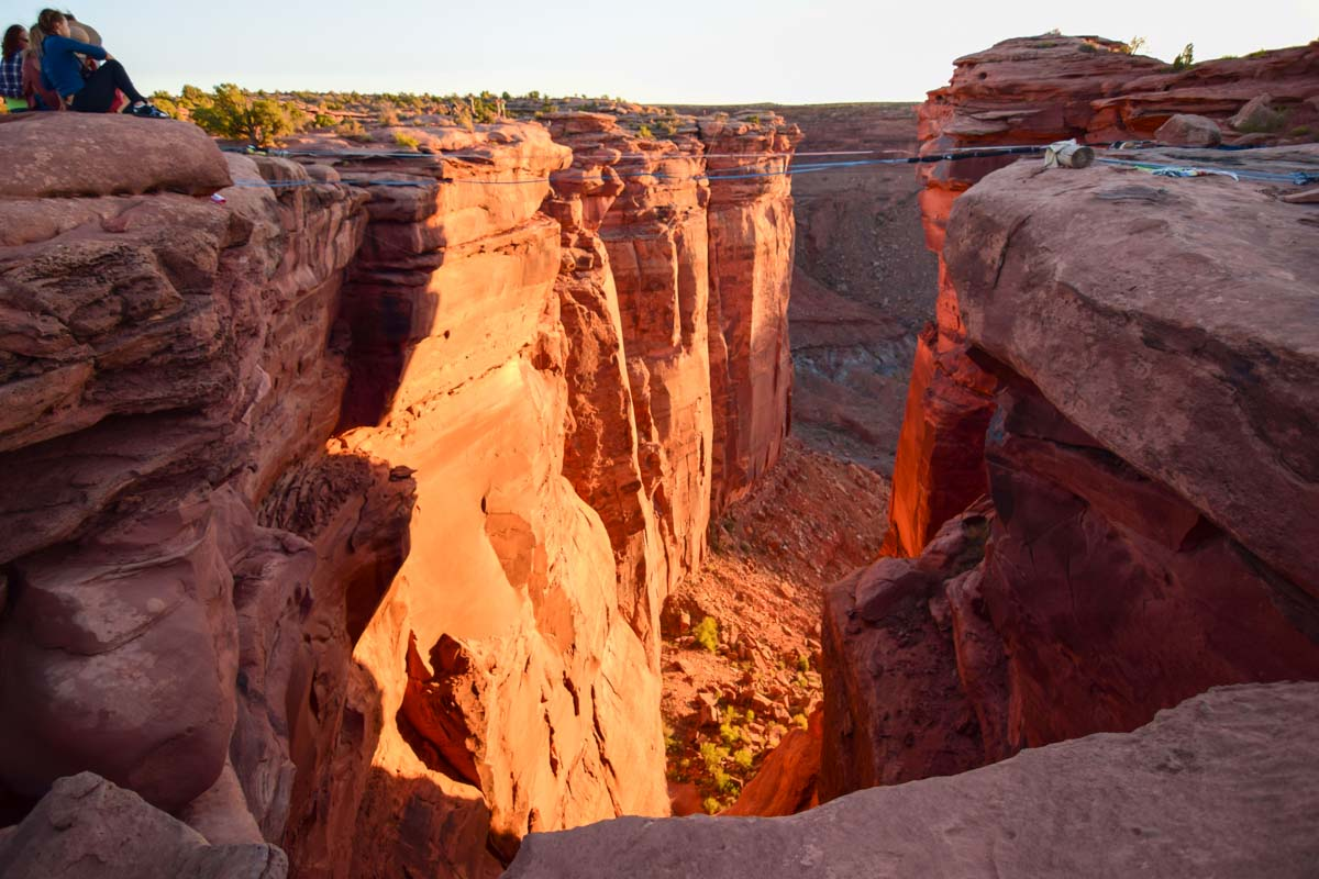 The canyon in the fruit bowl where we set up the giant swing in moab