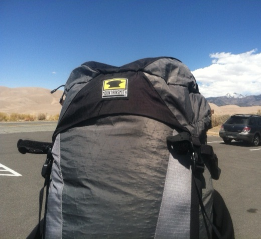 Old Mountainsmith backpack at Colorado's Sand Dunes