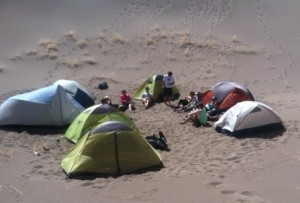 Tents set up on the Great Sand Dunes National Monument with many Mountainsmith Morrison 2s