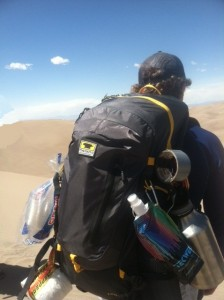 Josh Jacobson carries the Mountainsmith Ghost 50 at Colorado's Great Sand Dunes.