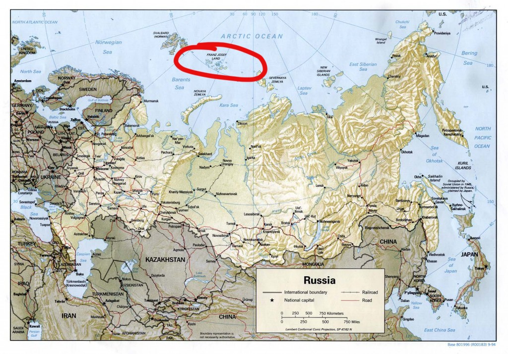 Map of Russia with a red circle around Franz Josef Land