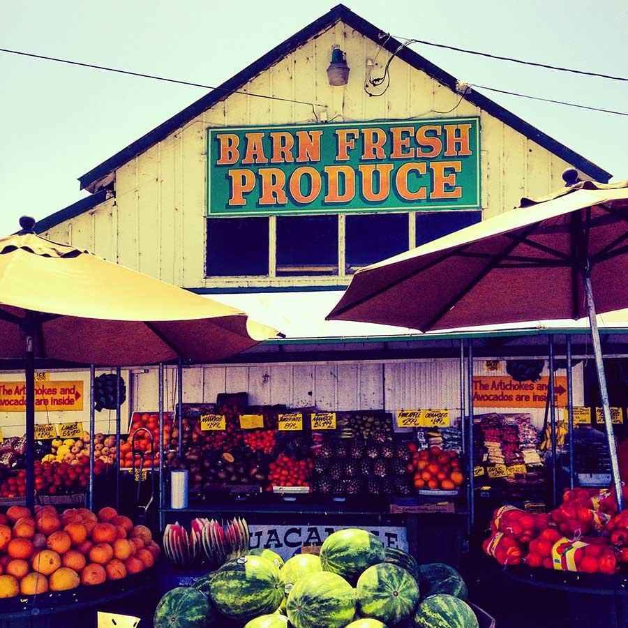 Barn fresh produce stand in central California, near Castroville.