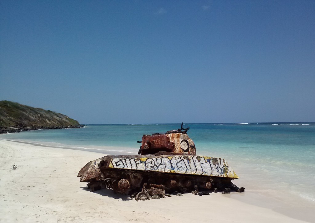 Old army tank left behind on the beach in Culebra