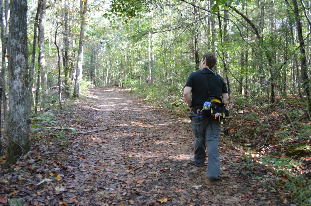 Josh Wilson of Peanuts or Pretzels hiking in FDR State Park, Pine Mountain, GA with his Mountainsmith Tour