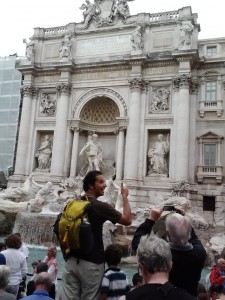Jay Getzel using the Mountainsmith scream day backpack in Rome, Italy