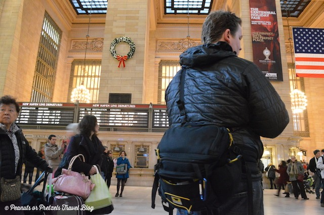 Josh Wilson of Peanuts or Pretzels travels through Grand Central Station with his Mountainsmith Tour FX camera lumbar pack