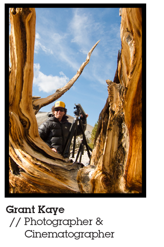 Grant Kaye, Photographer, cinematographer, educator and Mountainsmith Ambassador, pictured outside by his camera equipment behind a gnarled old tree.