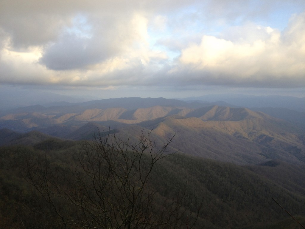 Sun setting over Great Smoky Mountain National Park.  View from Cheoah Bald, North Carolina