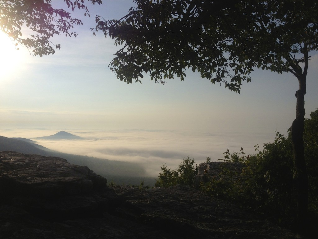 """Sunrise view at rock outcrop known as """"the pulpit"""" near Port Clinton, Pennsylvania"""