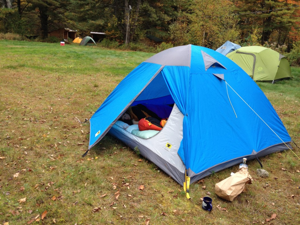 The Mountainsmith Genesee 4 set up with the vestibule open in vermont
