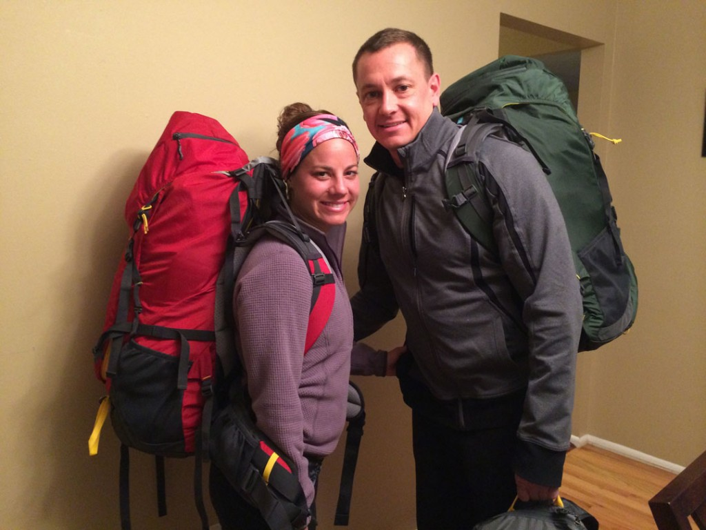 Ashley and Clint ready to travel the world with their Mountainsmith packs