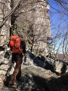 Chris Vultaggio carrying the Mountainsmith Mayhem 35 backpack in the Gunks