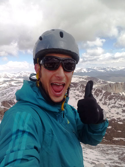 Mountainsmith's fearless leader Jay Getzel…all smiles at 14,000 feet on Mt. Evans