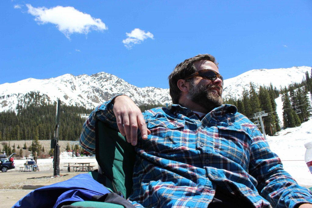 Jonathan McFarland finds himself right at home on the beach at Arapahoe Basin ski resort.