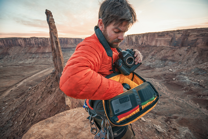 Andy Mann Works Out Of His Mountainsmith Descent Camera Sling Bag On Notch Peak In Utah
