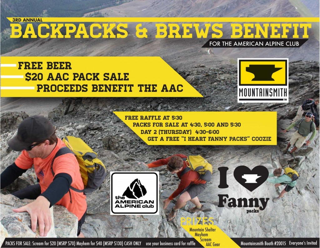 invitation to the backpacks and brews benefit by mountainsmith