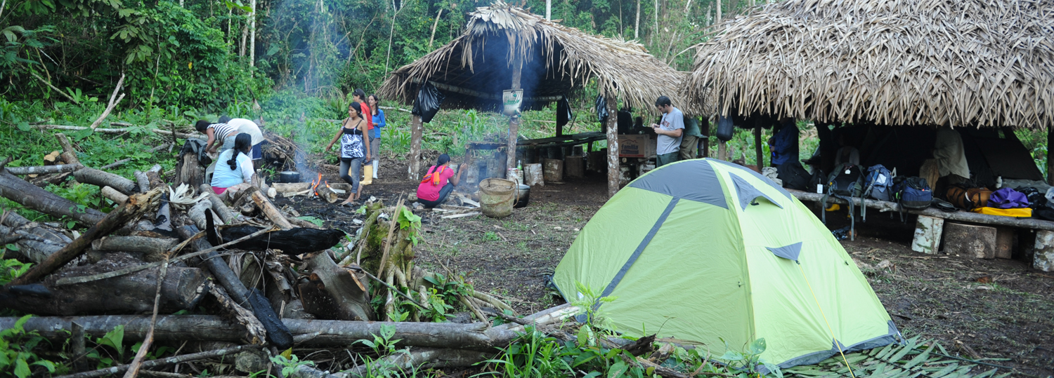 The Mountainsmith Morrison 2 tent in the jungle of the Amazon Rainforest with the Achuar people.