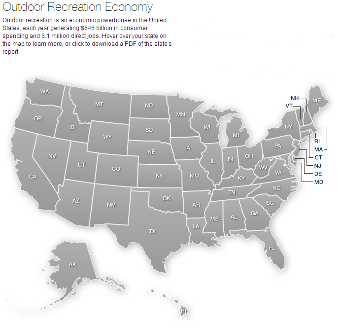 outdoor industry, map, united states, employment, jobs, employees, salary