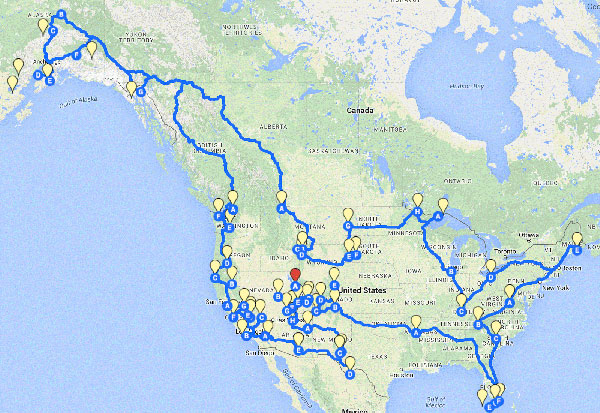 Map of Our Vie's route to all of the National Parks
