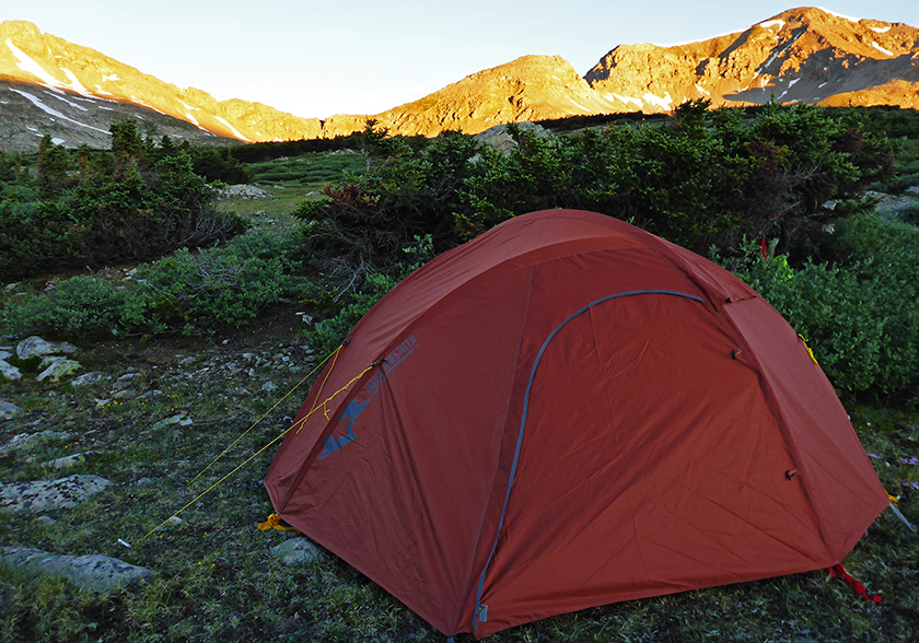 The Mountainsmith Mountain Dome 2 tent near the continental divide in Colorado