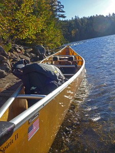 The Mountainsmith Spectrum Camera backpack in a canoe in the Boundary Waters Canoe Area, Minnesota