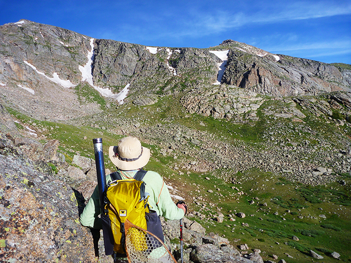 Mountainsmith Ambassador, Jonathan Hill hiking into the Colorado high country to fly fish using his Mountainsmith Scream 25.