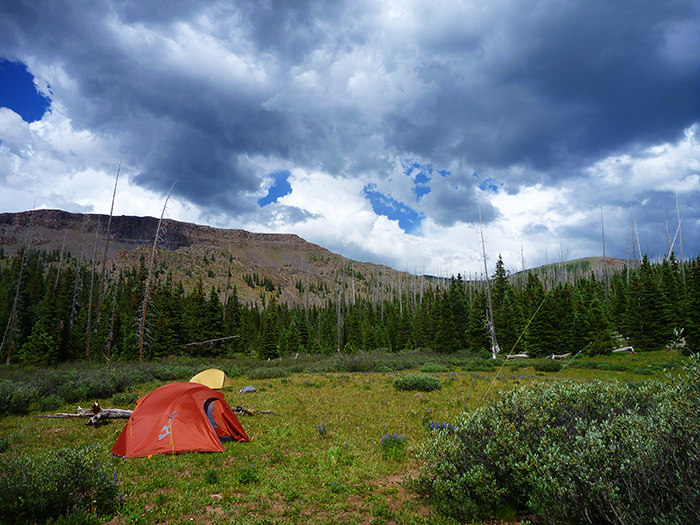 the Mountainsmith Mountain Dome 2 pitched in Colorado