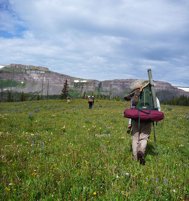 fisherman hikes with the Mountainsmith Apex 80 in Colorado