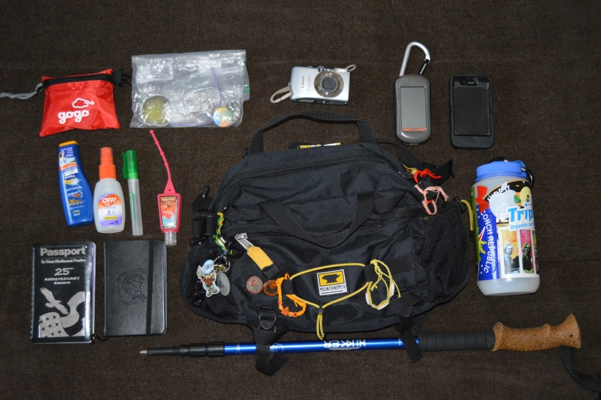 Josh and Liz Wilson's Mountainsmith Tour TLS (Geocaching Adventure Bag) with its contents